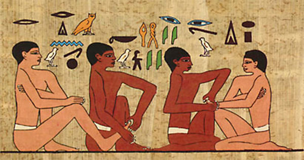 cave paining from ancient Egypt of massage
